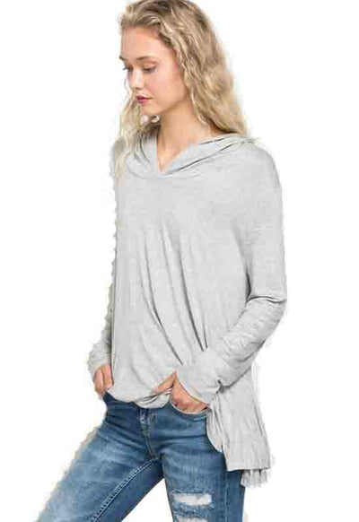 Kixters - Heather Grey Draped Hoodie Pullover