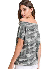 Kixters - Olive Camo Off-Shoulder Top