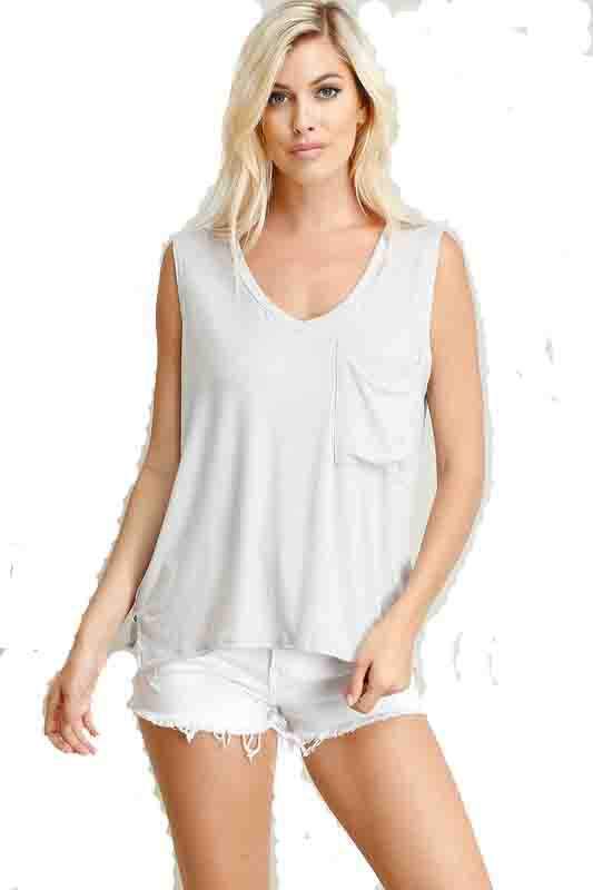 Silver Pocket Front Sleeveless V-Neck Top