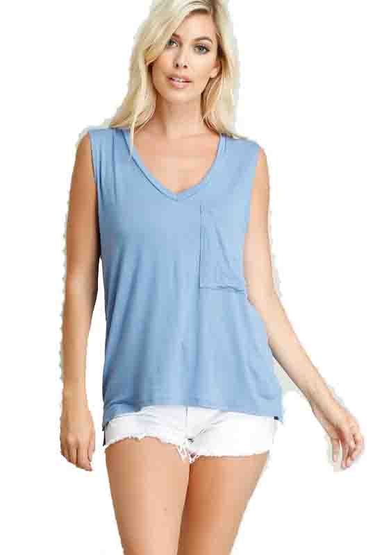 Kixters - Blue Deep Pocket Front Sleeveless V-Neck Top