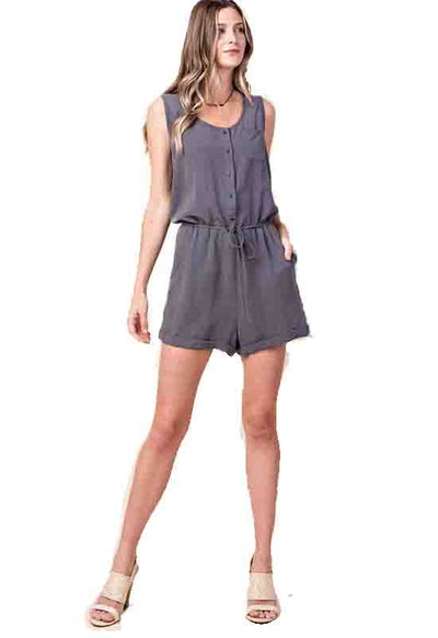 Ash Button Down Safari Romper