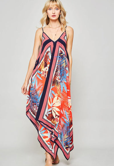 Kixters - Pink Multi Printed Handkerchief Maxi Dress