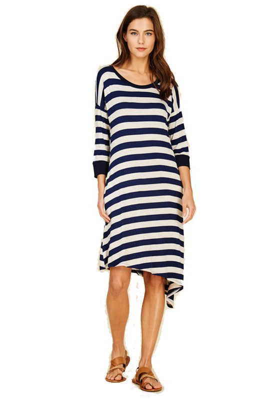 Navy/Oatmeal Stripe Rayon Spandex Asymmetrical Midi Dress