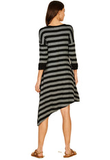 Black/Charcoal Stripe Rayon Spandex Asymmetrical Midi Dress
