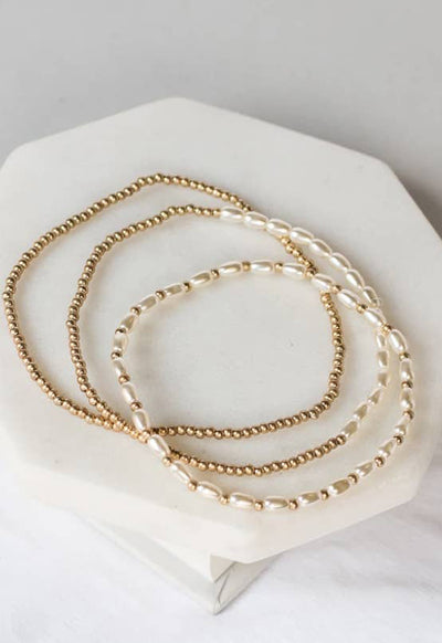 PRETTY SIMPLE J-B20008 DELCTE PRL BEAD BRCLT SET GLD - J-B20008-PRETTY SIMPLE