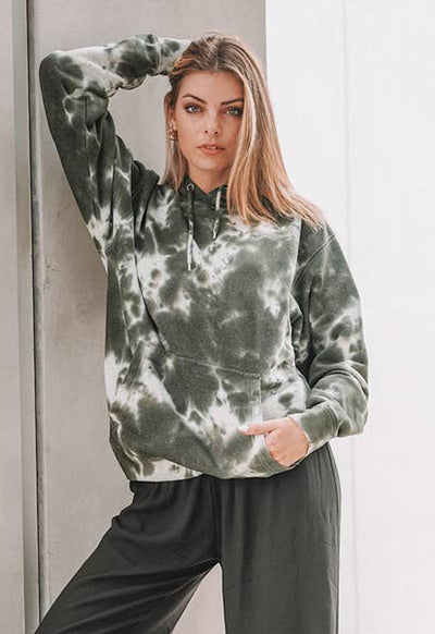 Life Clothing - Green Multi Down Town Tie Dye Hoodie