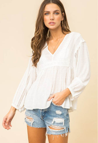 Kixters - Ivory Lace Trim V Neck Top