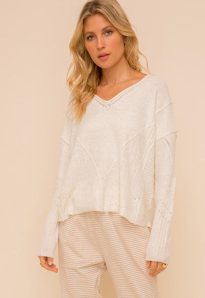 V-Neck Towel Textured Oversized Sweater - Ivory