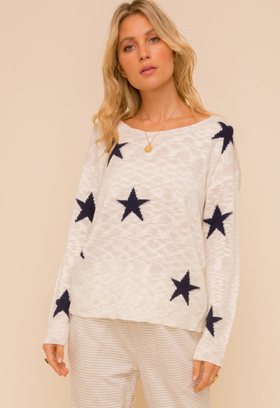 Twist Back Star Print Sweater - Off White