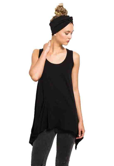 Black Draped Pocket Tank Top