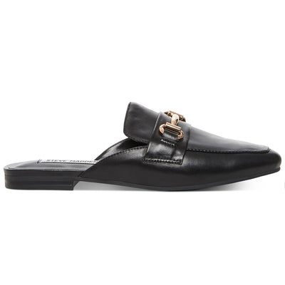 Steve Madden Kori - Black Leather Open Back Flat Loafer