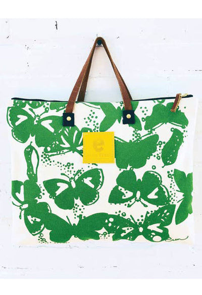 Erin Flett - Kelly Green Butterflies Folder Tote Bag