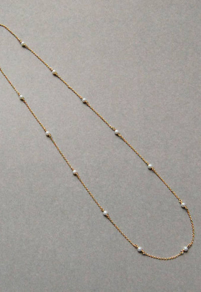 14K Classic Gold Fill Necklace with White Pear