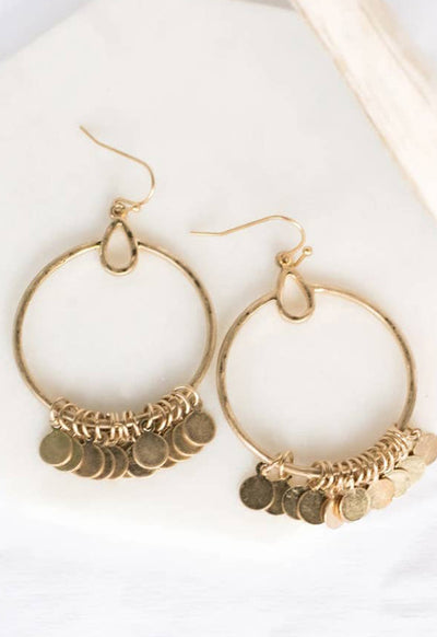PRETTY SIMPLE J-E20013 ECCENTRIC DRP HOOP EARRING CHA - J-E20013-PRETTY SIMPLE