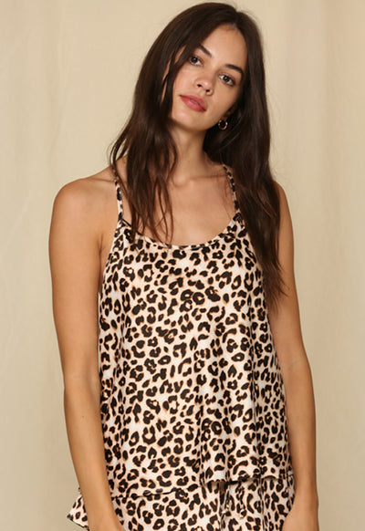 Woven Leopard Satin Camisole