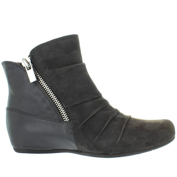 Earthies Pino - Dark Grey Suede/Leather Dual Zip Low Wedge Bootie