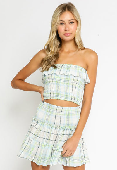 Smocked Tube Top - White Green