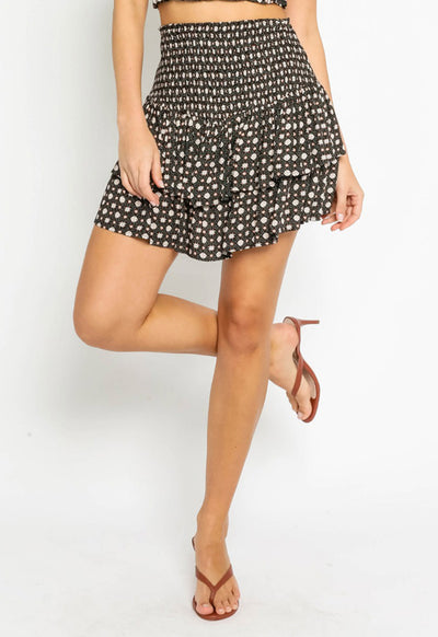 Patterned Tiered Skirt - Black
