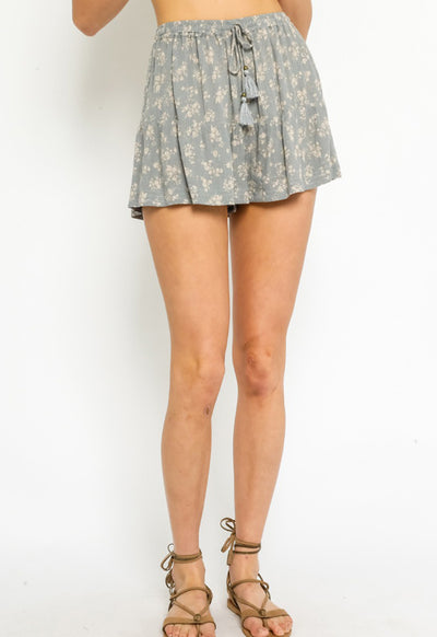 Floral Shorts - Blue Taupe Floral