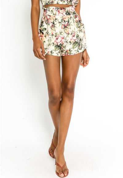 Floral Shorts - Cream