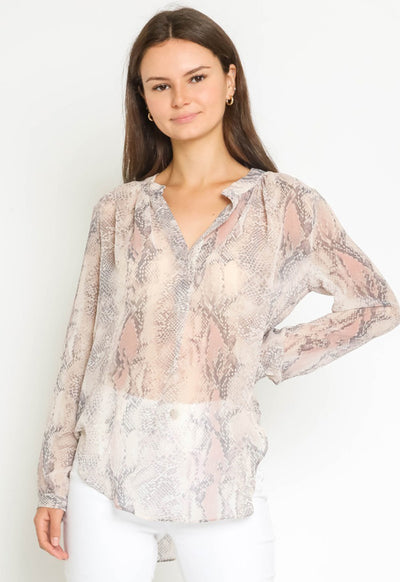 Kixters - Blush Multi Snake Print Long Sleeve Top