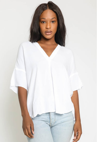 Kixters - White V Neck Top