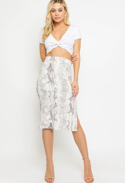 Kixters - Blush Multi Snake Print Skirt