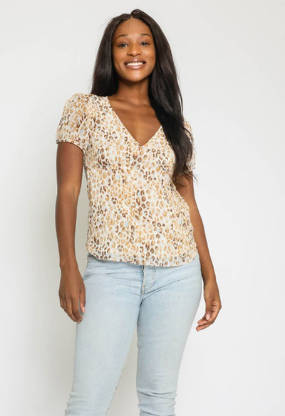 Kixters - Cream/Taupe Multi Print V Neck Top