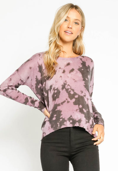 Tie Dye Back Zipper Sweater - Purple Tie Dye