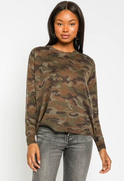 Camo Sweater with Side Zippers