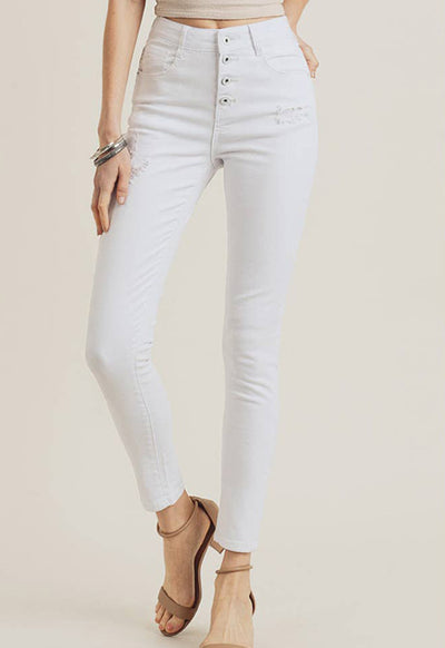 Risen Jeans - White Denim 5 Button Hi Rise Skinny Ankle Jeans