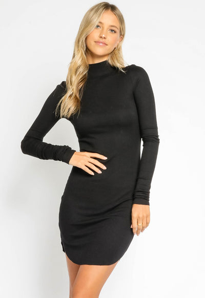 Ribbed Body Con Dress - Black