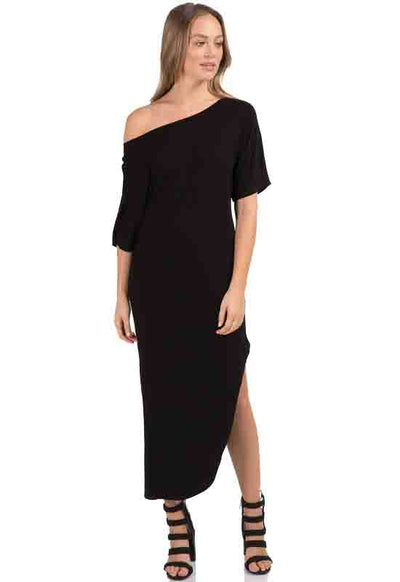 Kixters - Black Long Side Slit Dress