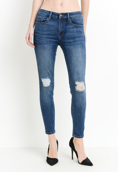 Just Black - Dark Denim Destructed Skinny Jeans