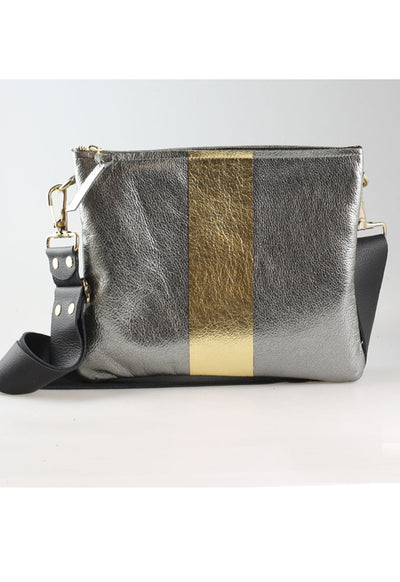 The Taylor Crossbody Bag - Gunmetal with Gold Stripe