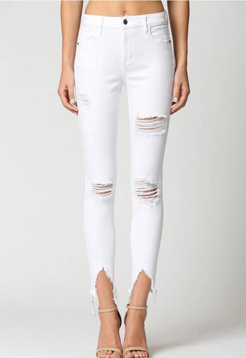 Hidden Jeans - White Denim High Rise Skinny Jeans