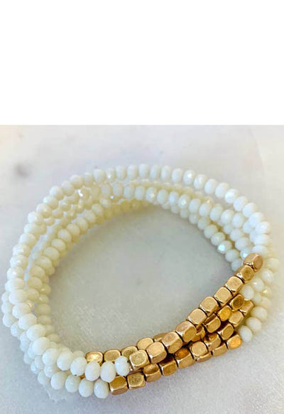 Kixters - Gold/White Beaded 5 Strand Layered Bracelet