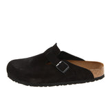 Birkenstock Boston- Black Suede Soft Footbed Clog