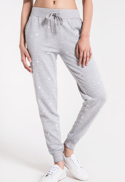 Z Supply - The Heather Grey/White Star Print Jogger
