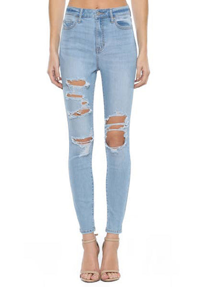 Cello Jeans - Light Blue Denim Hi Rise Distressed Ankle Skinny Jeans