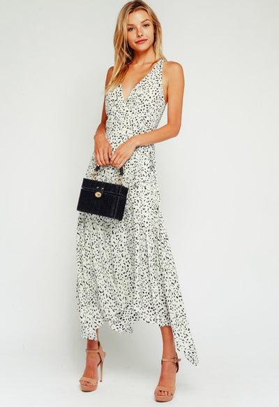 Kixters - White Multi Dalmatian Print Maxi Dress