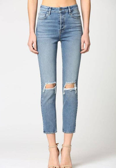 Hidden Jeans - High Rise Slim Mom Jeans Medium Blue