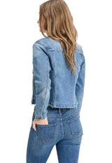 Just Black - Medium Blue Denim Cropped Raw Hem Jacket