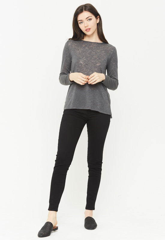 Kixters - Charcoal Melrose Long Sleeve Crew Neck Top