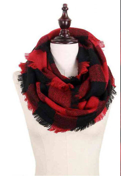 Red & Black Buffalo Plaid Infinity Scarf