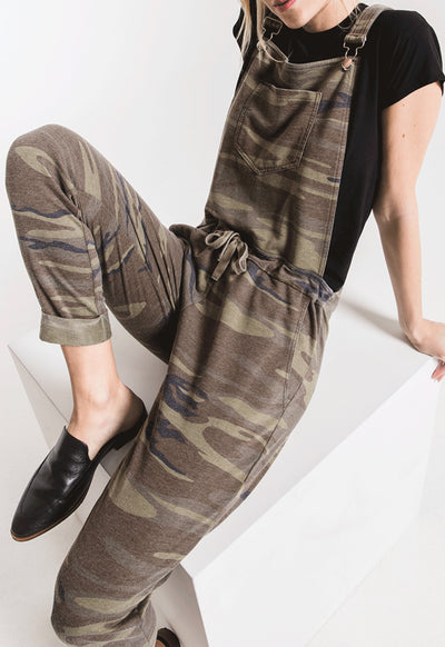 Z Supply - The Camo/Dark Green Multi Knit Overalls