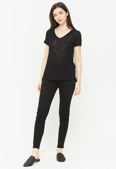 Kixters - Black Melrose Short Sleeve V Neck Top