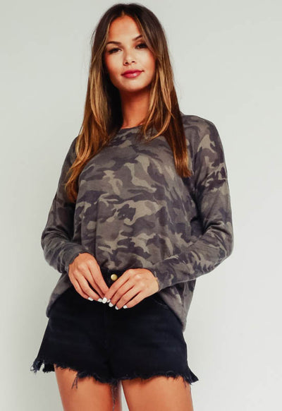 Kixters - Grey Multi Camo Long Sleeve Top