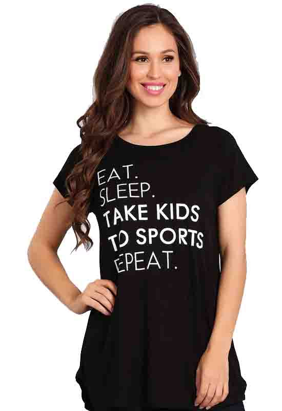 Kixters - Black Eat Sleep Take Kids To Sports Repeat Top