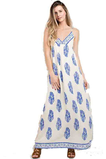 Ivory/Blue Border Neckline Print Maxi Dress